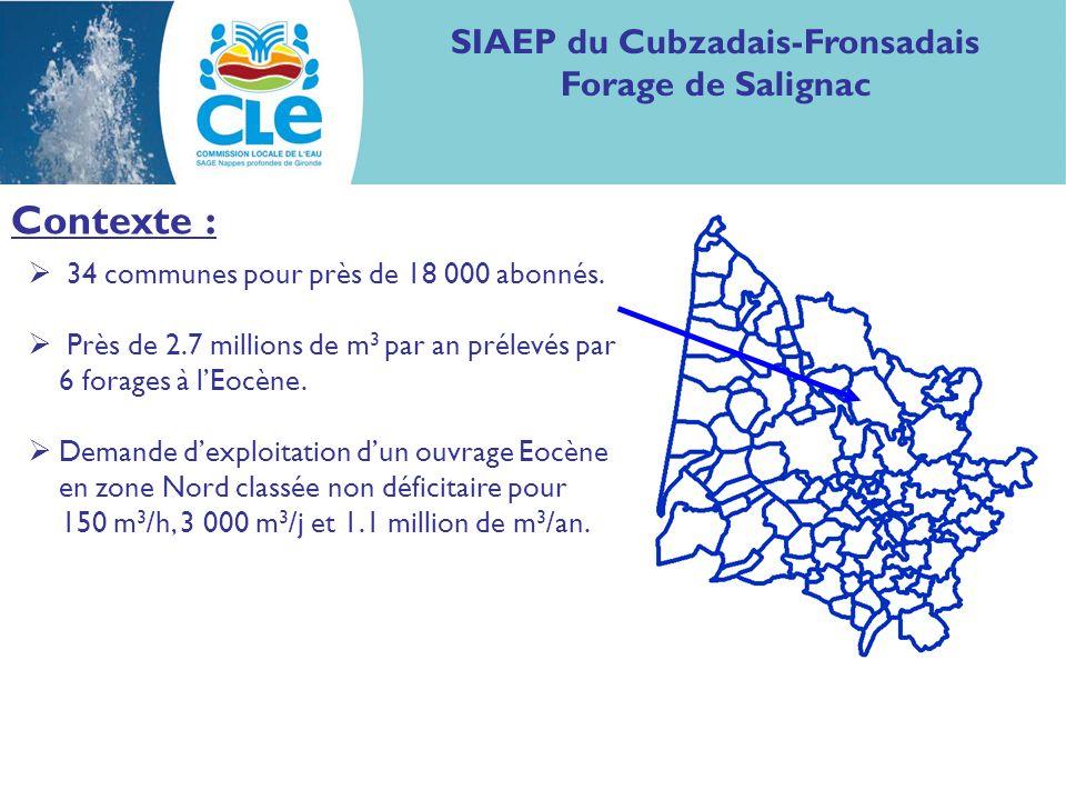 SIAEP du Cubzadais-Fronsadais Forage de Salignac Contexte : 34 communes pour près de 18 000 abonnés. Près de 2.7 millions de m 3 par an prélevés par 6