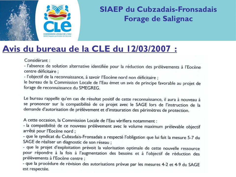 Avis du bureau de la CLE du 12/03/2007 : SIAEP du Cubzadais-Fronsadais Forage de Salignac