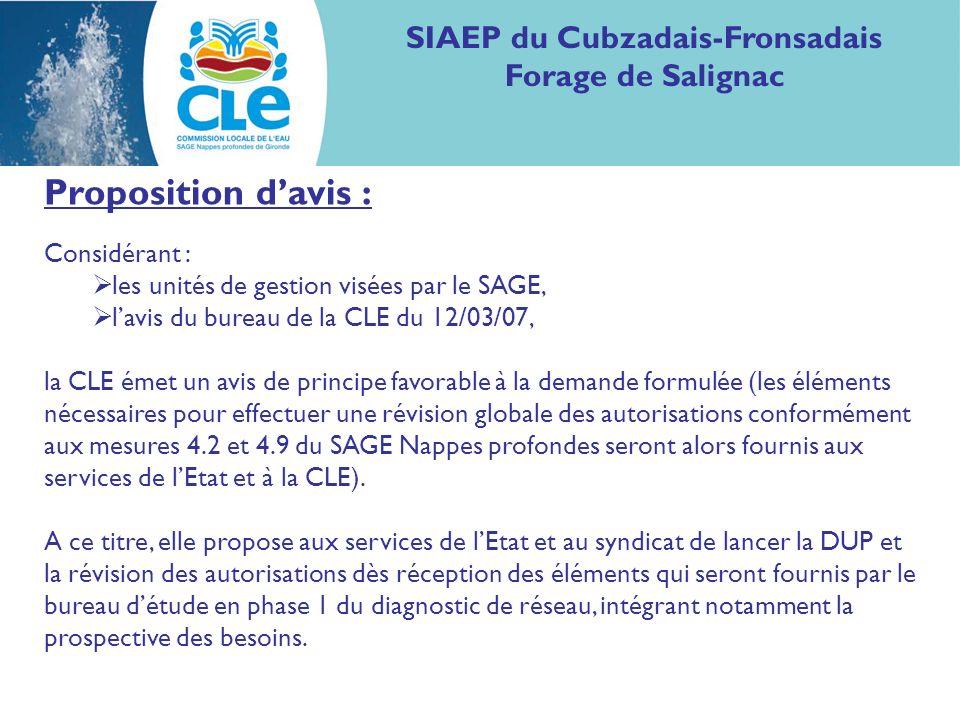 Proposition davis : Considérant : les unités de gestion visées par le SAGE, lavis du bureau de la CLE du 12/03/07, la CLE émet un avis de principe fav