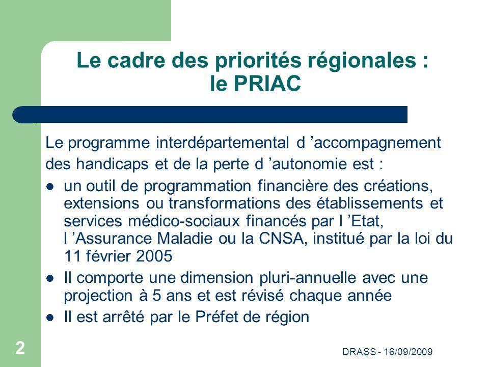 DRASS - 16/09/2009 2 Le cadre des priorités régionales : le PRIAC Le programme interdépartemental d accompagnement des handicaps et de la perte d auto