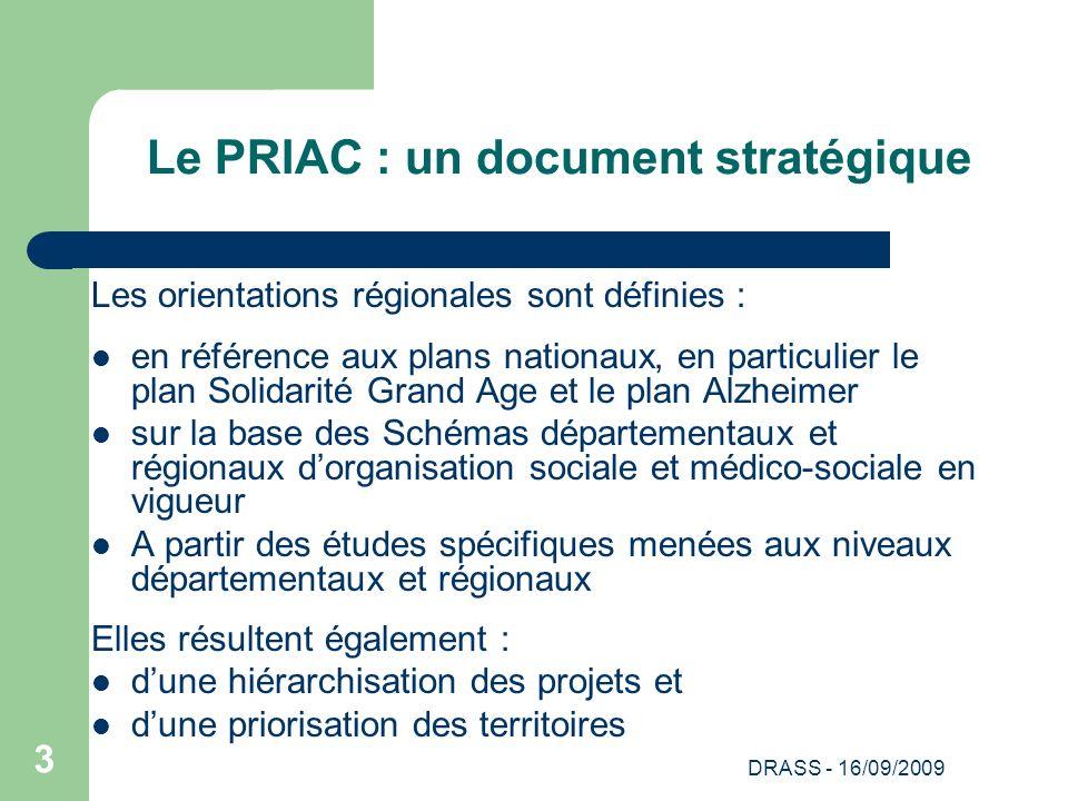 DRASS - 16/09/2009 3 Le PRIAC : un document stratégique Les orientations régionales sont définies : en référence aux plans nationaux, en particulier l