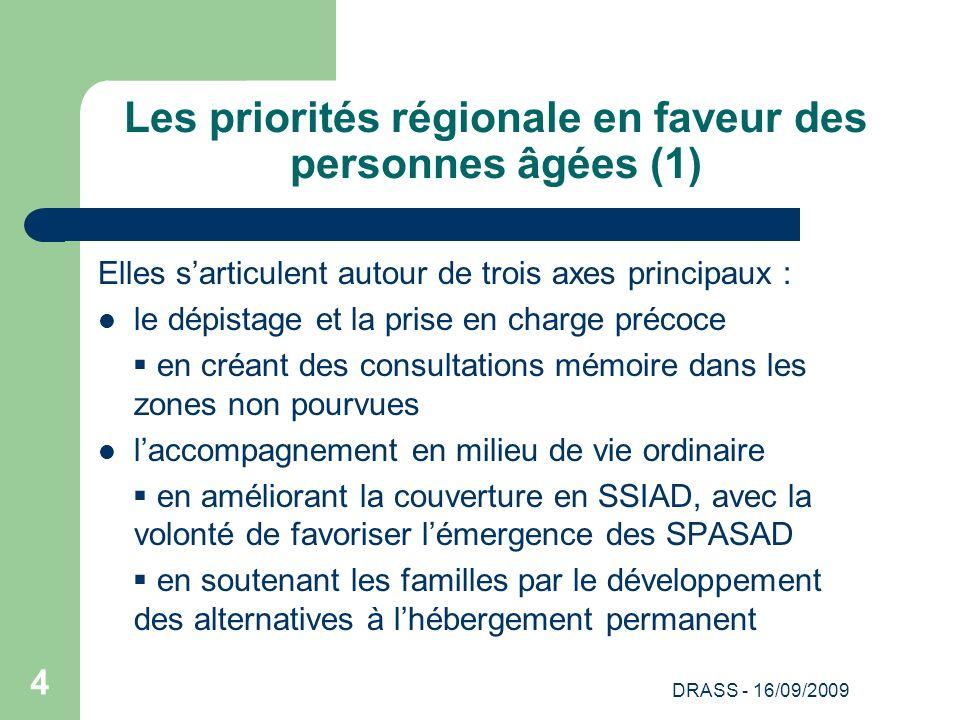 DRASS - 16/09/2009 4 Les priorités régionale en faveur des personnes âgées (1) Elles sarticulent autour de trois axes principaux : le dépistage et la