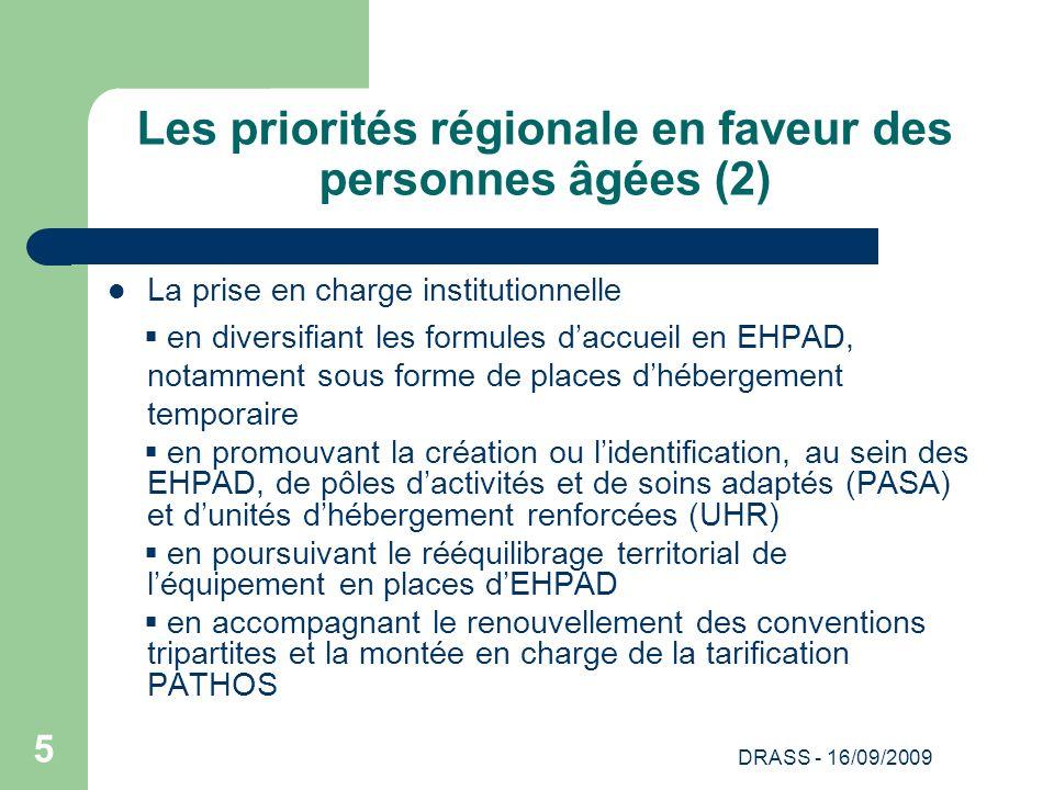 DRASS - 16/09/2009 5 Les priorités régionale en faveur des personnes âgées (2) La prise en charge institutionnelle en diversifiant les formules daccue