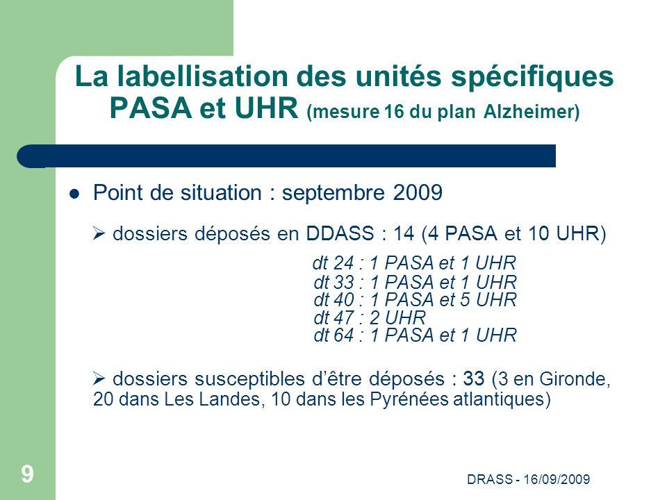 DRASS - 16/09/2009 9 La labellisation des unités spécifiques PASA et UHR (mesure 16 du plan Alzheimer) Point de situation : septembre 2009 dossiers dé