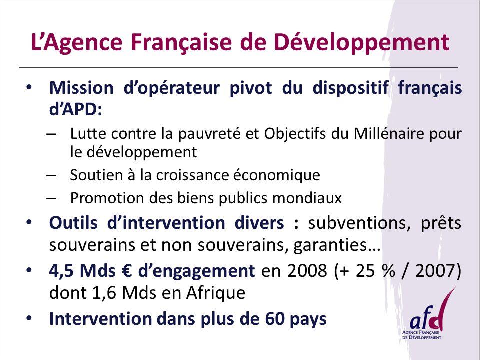 LAgence Française de Développement Mission dopérateur pivot du dispositif français dAPD: – Lutte contre la pauvreté et Objectifs du Millénaire pour le