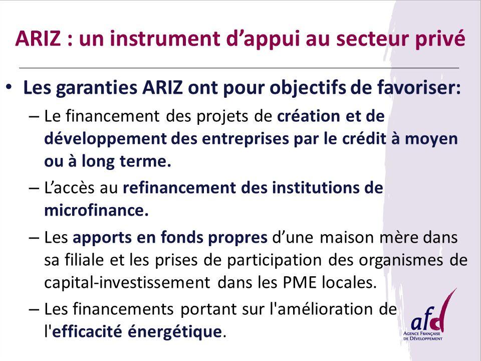 Les garanties ARIZ ont pour objectifs de favoriser: – Le financement des projets de création et de développement des entreprises par le crédit à moyen