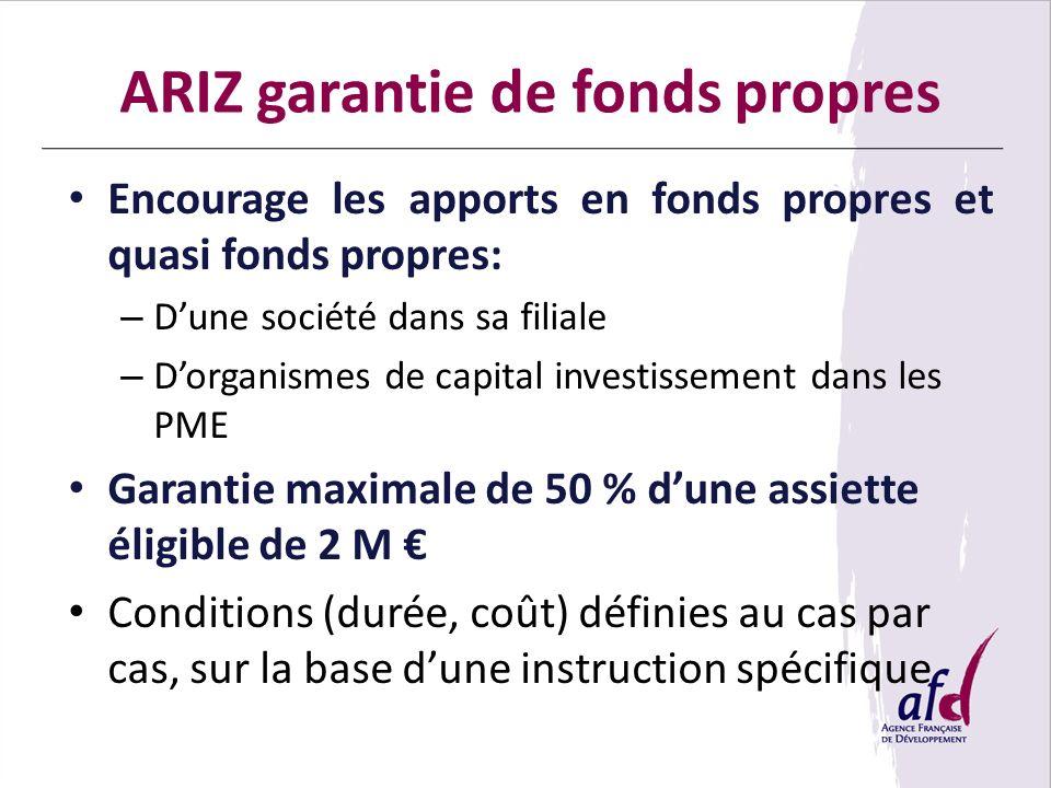 ARIZ garantie de fonds propres Encourage les apports en fonds propres et quasi fonds propres: – Dune société dans sa filiale – Dorganismes de capital