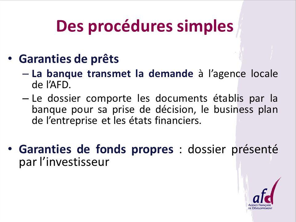 Des procédures simples Garanties de prêts – La banque transmet la demande à lagence locale de lAFD. – Le dossier comporte les documents établis par la