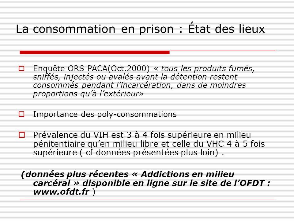 La consommation en prison : Cadre législatif ( idem quà lextérieur) Autour de la loi du 31 décembre 1970, cette dernière étant critiquée mais jamais changée (cf.