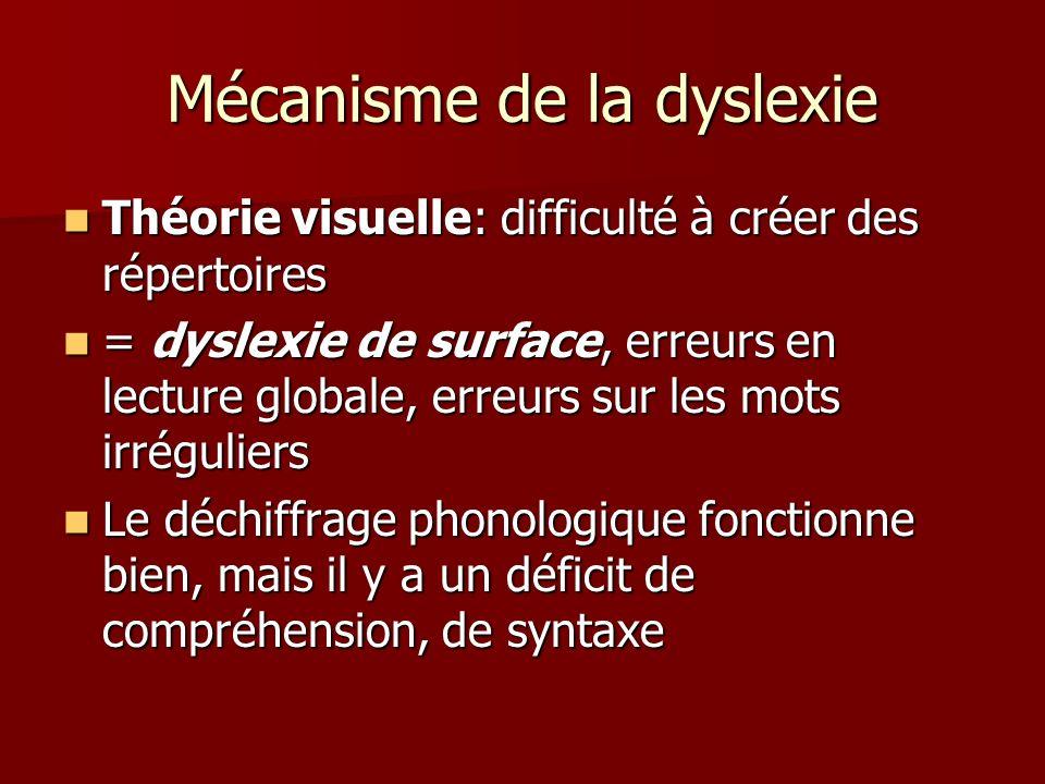 Mécanisme de la dyslexie Théorie visuelle: difficulté à créer des répertoires Théorie visuelle: difficulté à créer des répertoires = dyslexie de surfa