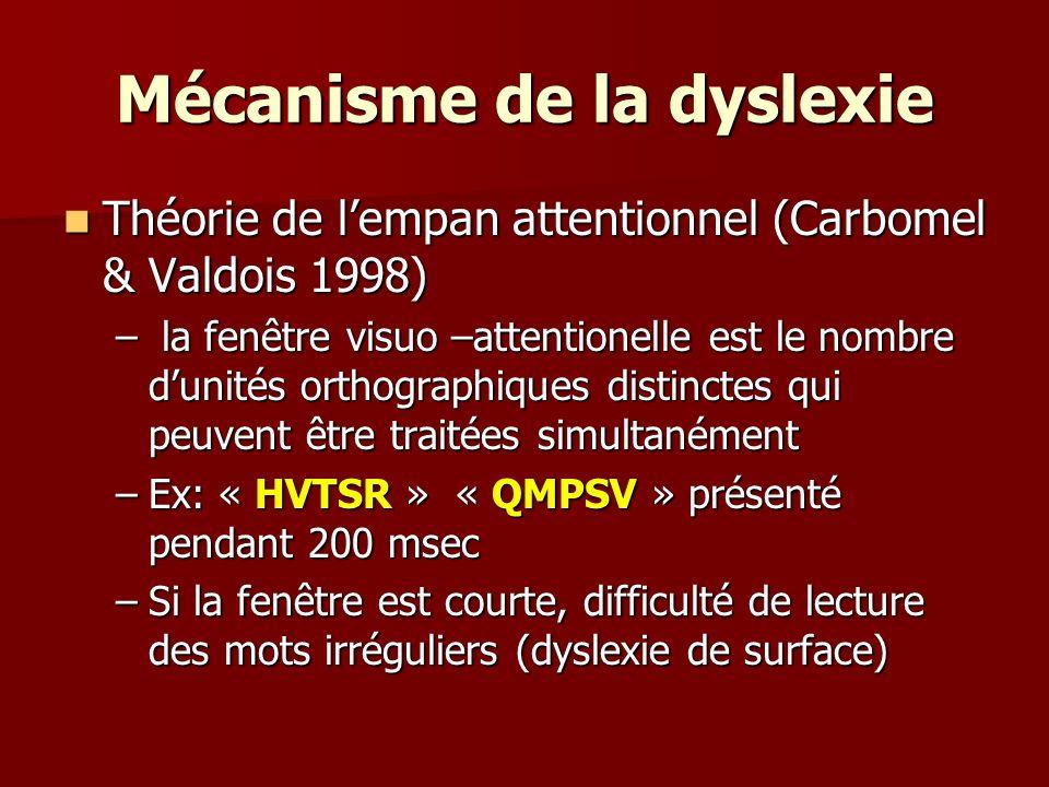 Mécanisme de la dyslexie Théorie de lempan attentionnel (Carbomel & Valdois 1998) Théorie de lempan attentionnel (Carbomel & Valdois 1998) – la fenêtr