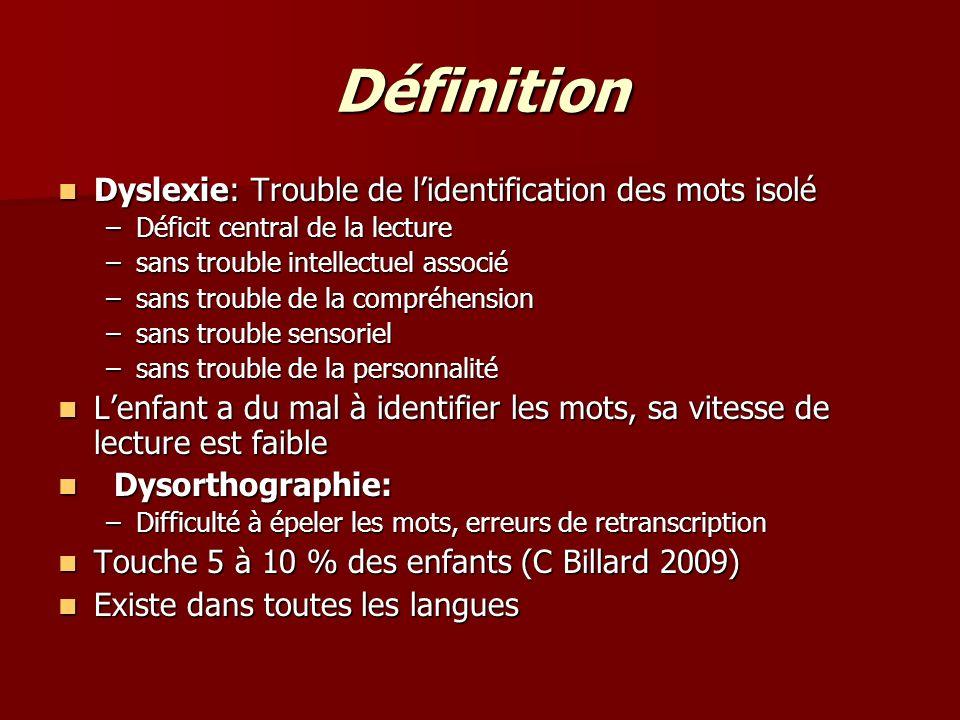 Définition Dyslexie: Trouble de lidentification des mots isolé Dyslexie: Trouble de lidentification des mots isolé –Déficit central de la lecture –san