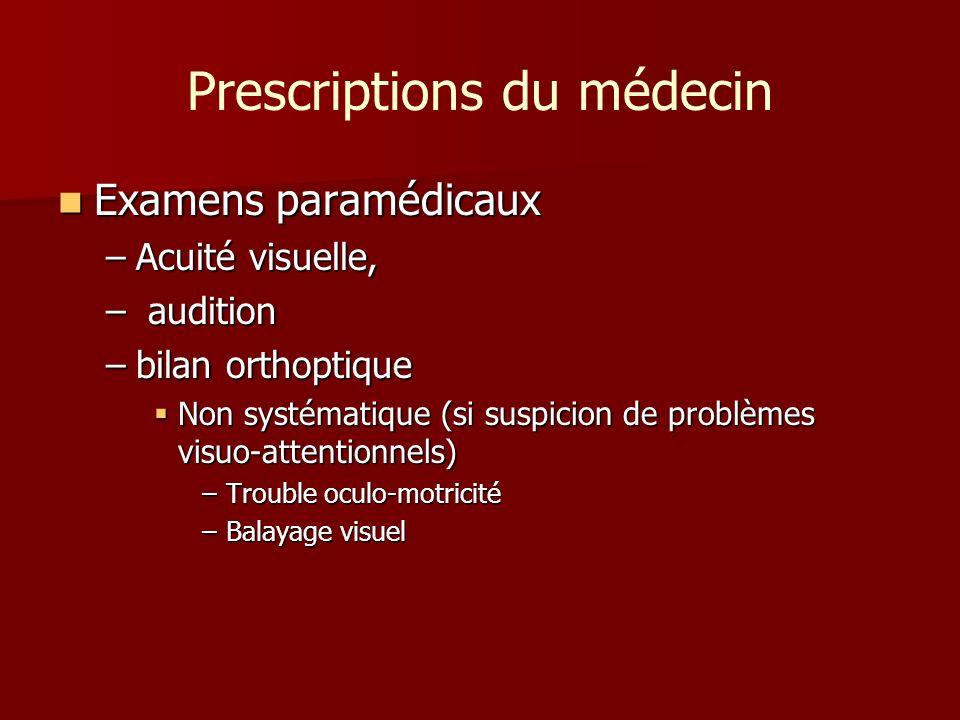 Prescriptions du médecin Examens paramédicaux Examens paramédicaux –Acuité visuelle, – audition –bilan orthoptique Non systématique (si suspicion de p