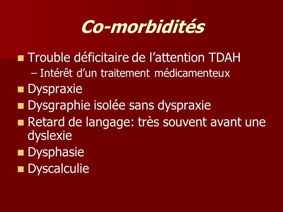 Co-morbidités Trouble déficitaire de lattention TDAH – –Intérêt dun traitement médicamenteux Dyspraxie Dysgraphie isolée sans dyspraxie Retard de lang