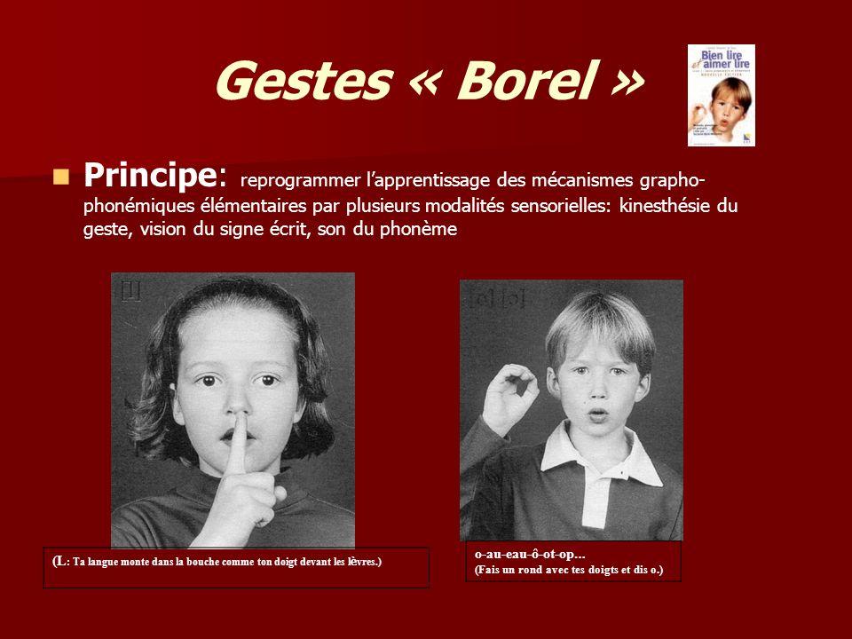 Gestes « Borel » Principe: reprogrammer lapprentissage des mécanismes grapho- phonémiques élémentaires par plusieurs modalités sensorielles: kinesthés