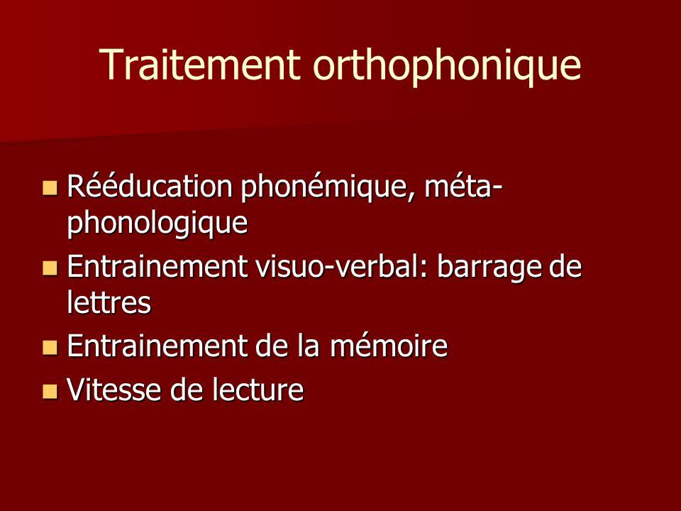 Traitement orthophonique Rééducation phonémique, méta- phonologique Rééducation phonémique, méta- phonologique Entrainement visuo-verbal: barrage de l