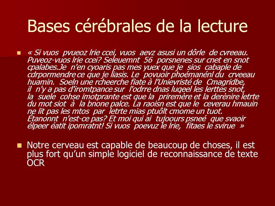 Mécanisme de la dyslexie Théorie de lempan attentionnel (Carbomel & Valdois 1998) Théorie de lempan attentionnel (Carbomel & Valdois 1998) – la fenêtre visuo –attentionelle est le nombre dunités orthographiques distinctes qui peuvent être traitées simultanément –Ex: « HVTSR » « QMPSV » présenté pendant 200 msec –Si la fenêtre est courte, difficulté de lecture des mots irréguliers (dyslexie de surface)
