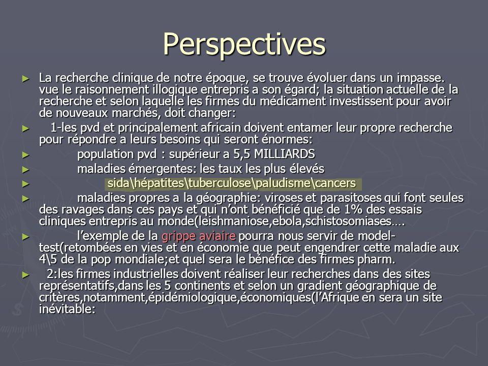 Perspectives La recherche clinique de notre époque, se trouve évoluer dans un impasse. vue le raisonnement illogique entrepris a son égard; la situati