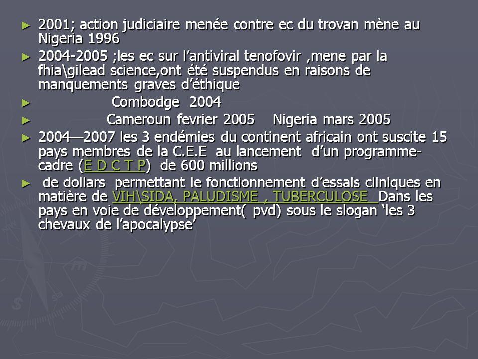 2001; action judiciaire menée contre ec du trovan mène au Nigeria 1996 2001; action judiciaire menée contre ec du trovan mène au Nigeria 1996 2004-200