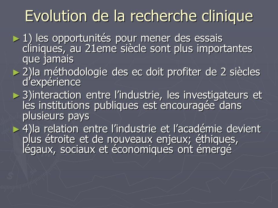 Evolution de la recherche clinique 1) les opportunités pour mener des essais cliniques, au 21eme siècle sont plus importantes que jamais 1) les opport
