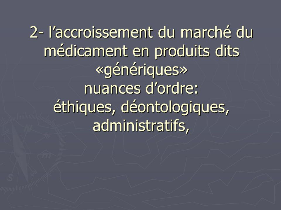 2- laccroissement du marché du médicament en produits dits «génériques» nuances dordre: éthiques, déontologiques, administratifs,