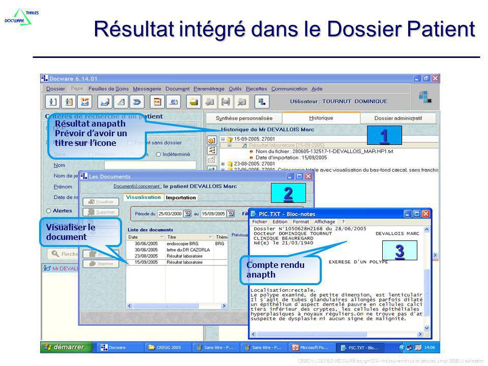 CEGEDIM LOGICIELS MEDICAUX © copyright 2004 – this document should not distributed without CEGEDIM authorisation Résultat intégré dans le Dossier Pati