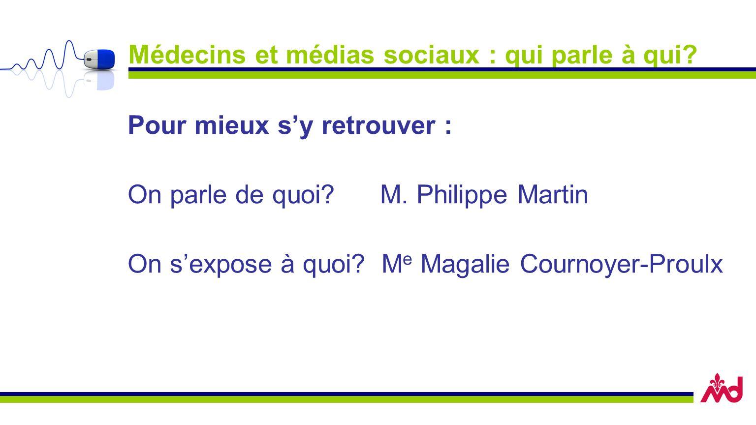 Médecins et médias sociaux : qui parle à qui? Pour mieux sy retrouver : On parle de quoi? M. Philippe Martin On sexpose à quoi? M e Magalie Cournoyer-