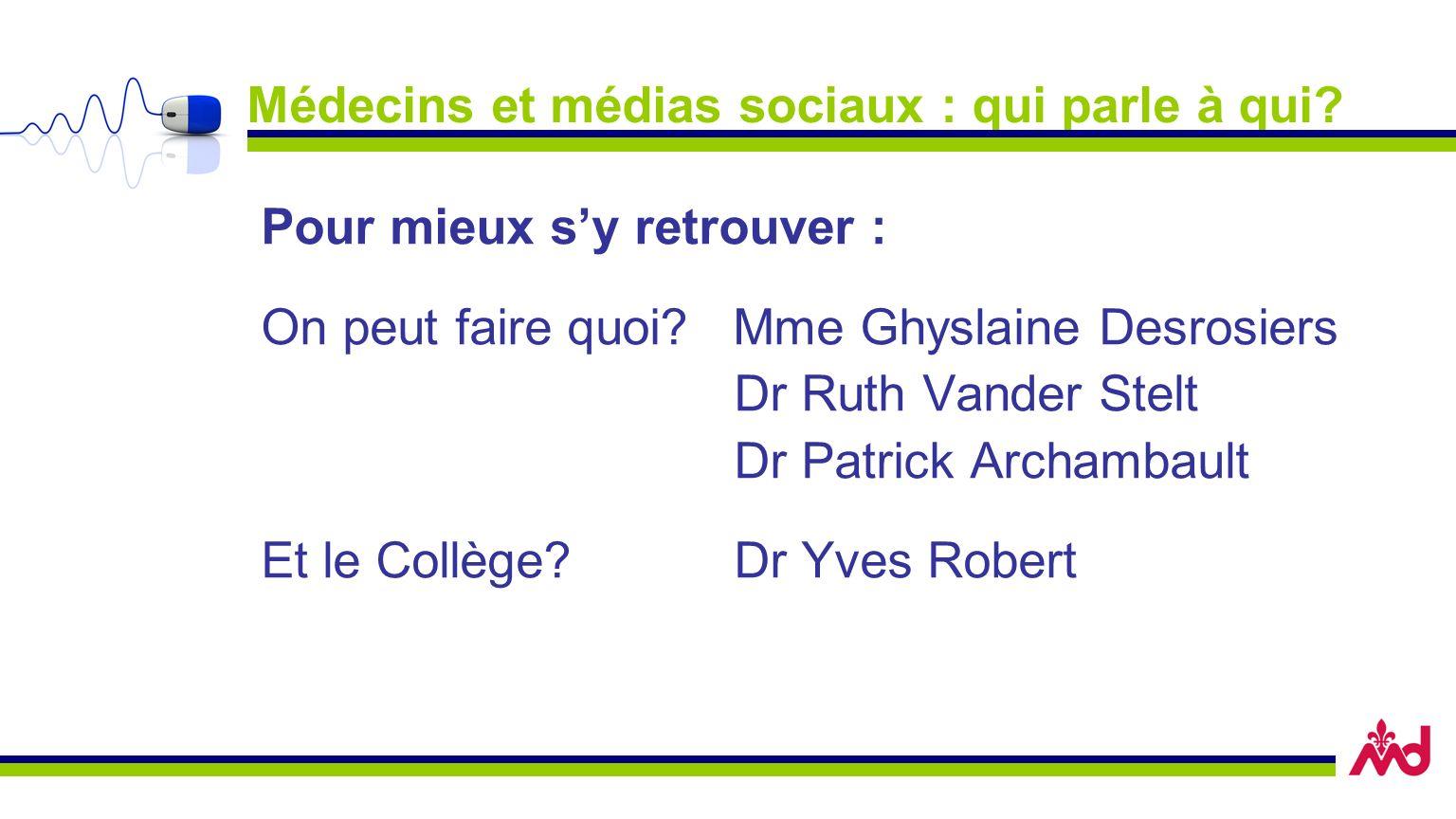 Médecins et médias sociaux : qui parle à qui? Pour mieux sy retrouver : On peut faire quoi? Mme Ghyslaine Desrosiers Dr Ruth Vander Stelt Dr Patrick A