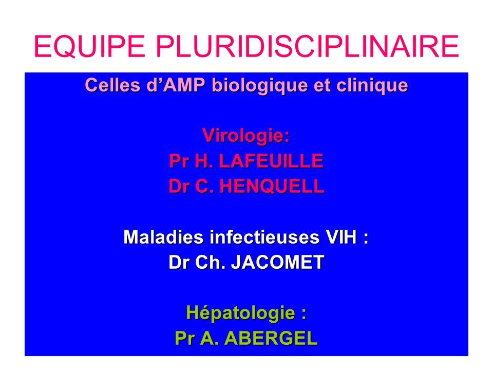 Celles dAMP biologique et clinique Virologie: Pr H. LAFEUILLE Dr C. HENQUELL Maladies infectieuses VIH : Dr Ch. JACOMET Hépatologie : Pr A. ABERGEL EQ