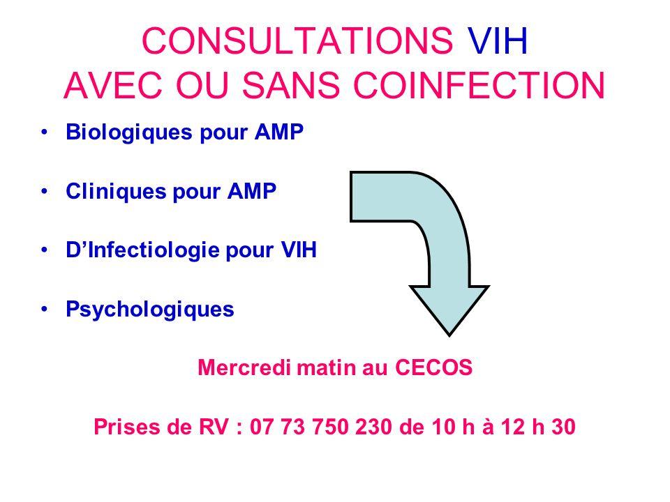 CONSULTATIONS VIH AVEC OU SANS COINFECTION Biologiques pour AMP Cliniques pour AMP DInfectiologie pour VIH Psychologiques Mercredi matin au CECOS Pris