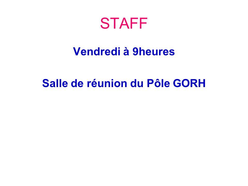 STAFF Vendredi à 9heures Salle de réunion du Pôle GORH