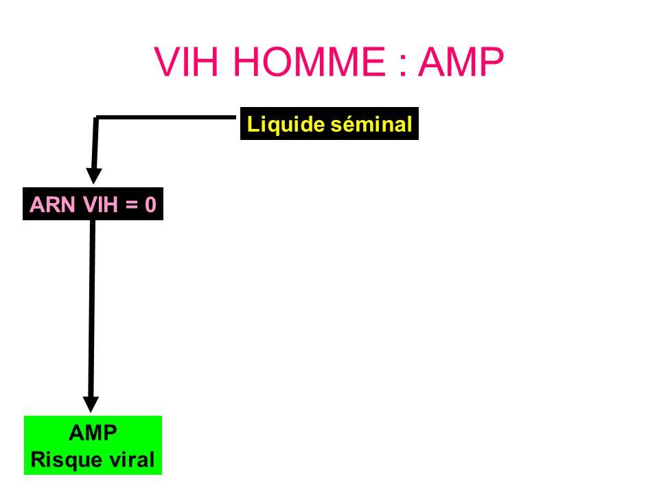 VIH HOMME : AMP ARN VIH = 0 AMP Risque viral Liquide séminal