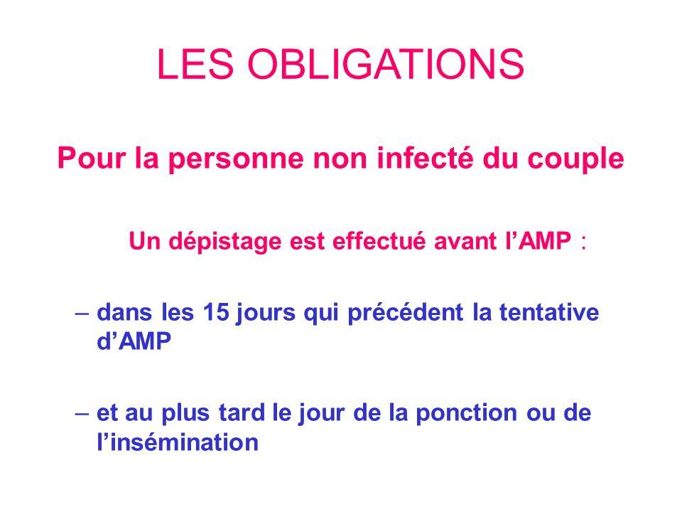 LES OBLIGATIONS Pour la personne non infecté du couple Un dépistage est effectué avant lAMP : –dans les 15 jours qui précédent la tentative dAMP –et a