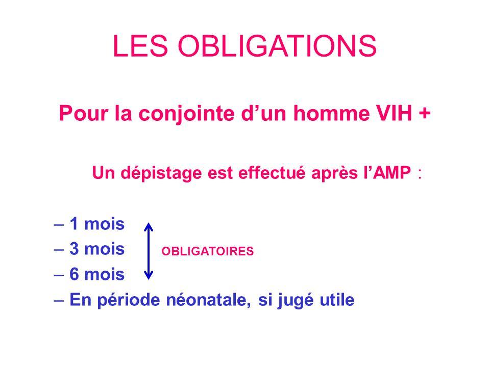 LES OBLIGATIONS Pour la conjointe dun homme VIH + Un dépistage est effectué après lAMP : –1 mois –3 mois –6 mois –En période néonatale, si jugé utile