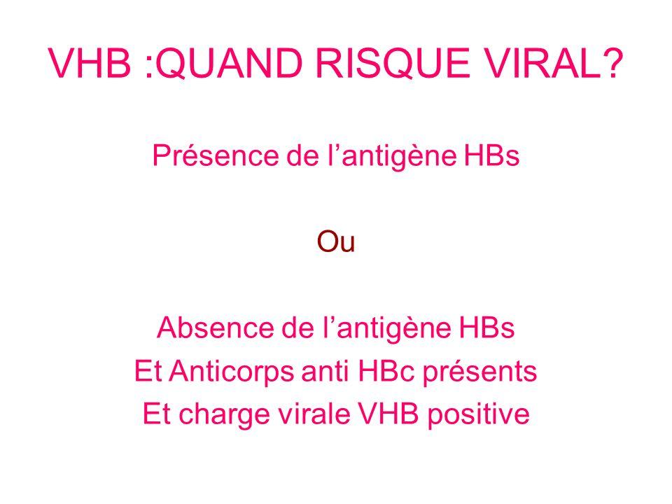 Ou Absence de lantigène HBs Et Anticorps anti HBc présents Et charge virale VHB positive VHB :QUAND RISQUE VIRAL?