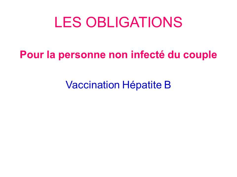LES OBLIGATIONS Pour la personne non infecté du couple Vaccination Hépatite B