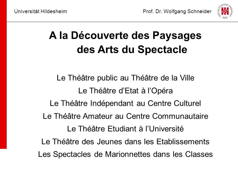 Universität HildesheimProf. Dr. Wolfgang Schneider A la Découverte des Paysages des Arts du Spectacle Le Théâtre public au Théâtre de la Ville Le Théâ
