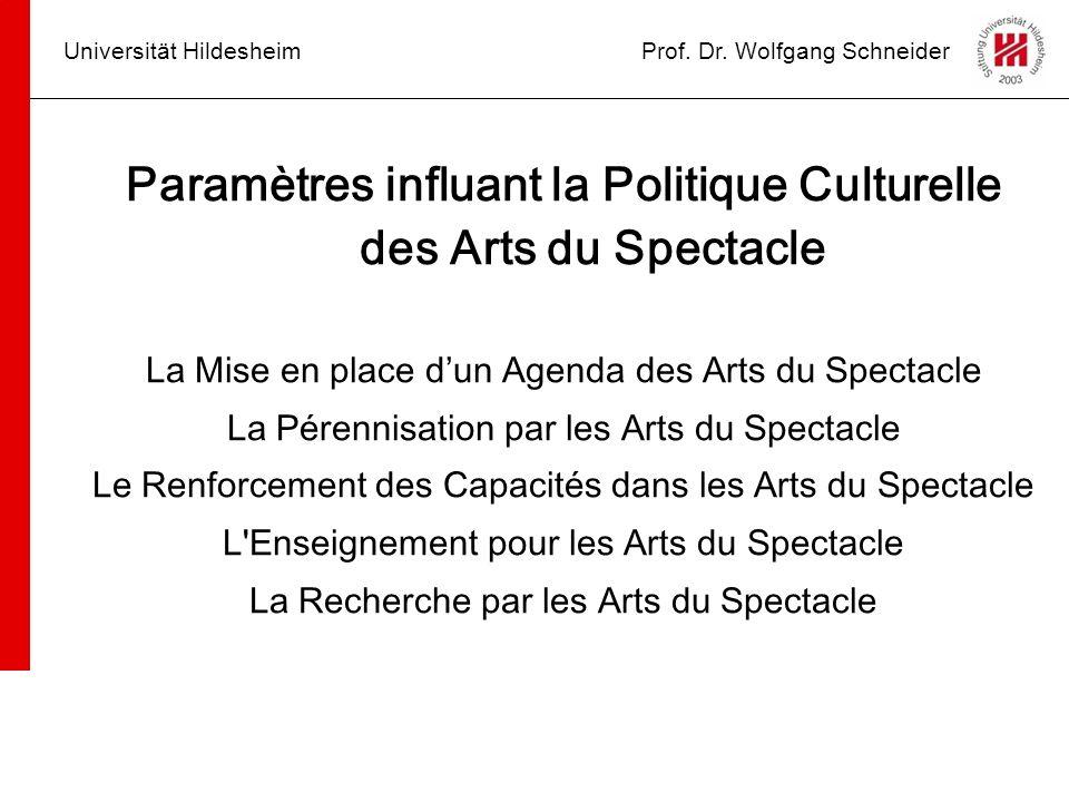 Universität HildesheimProf. Dr. Wolfgang Schneider Paramètres influant la Politique Culturelle des Arts du Spectacle La Mise en place dun Agenda des A