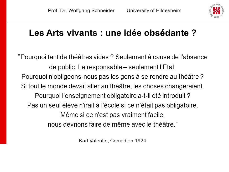 Prof. Dr. Wolfgang SchneiderUniversity of Hildesheim Les Arts vivants : une idée obsédante ? Pourquoi tant de théâtres vides ? Seulement à cause de l'