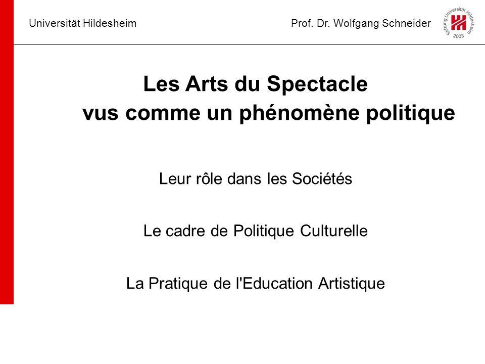 Universität HildesheimProf. Dr. Wolfgang Schneider Les Arts du Spectacle vus comme un phénomène politique Leur rôle dans les Sociétés Le cadre de Poli