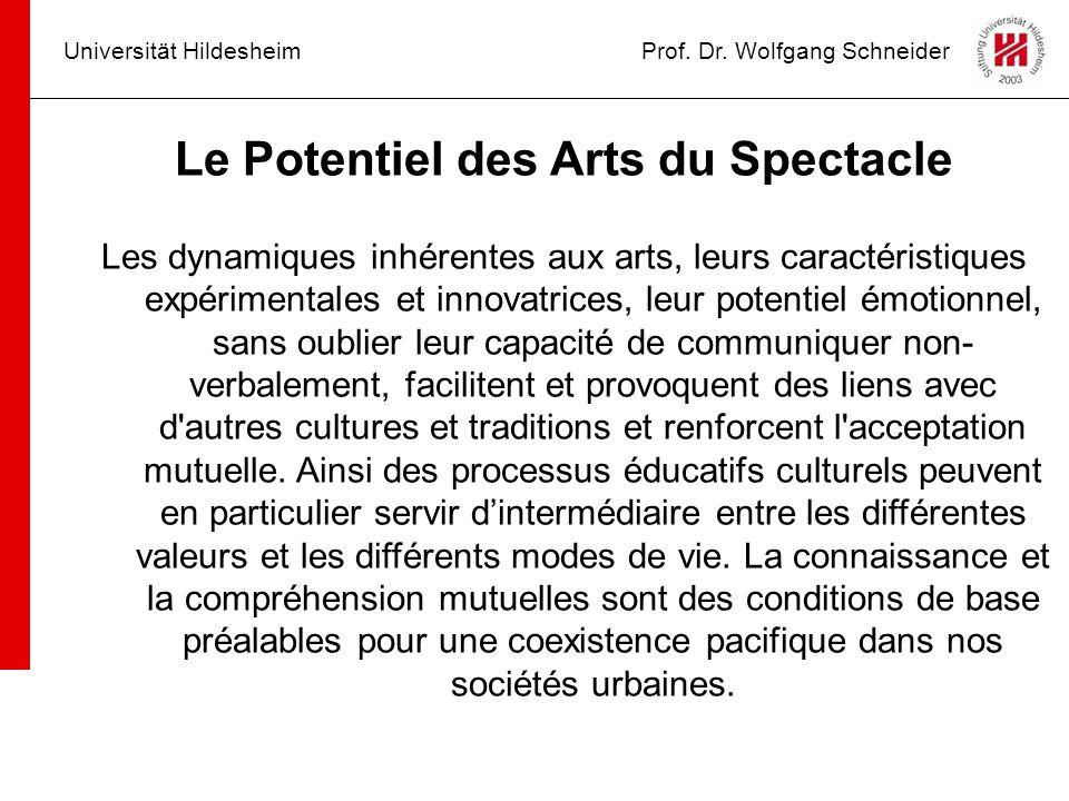 Universität HildesheimProf. Dr. Wolfgang Schneider Le Potentiel des Arts du Spectacle Les dynamiques inhérentes aux arts, leurs caractéristiques expér