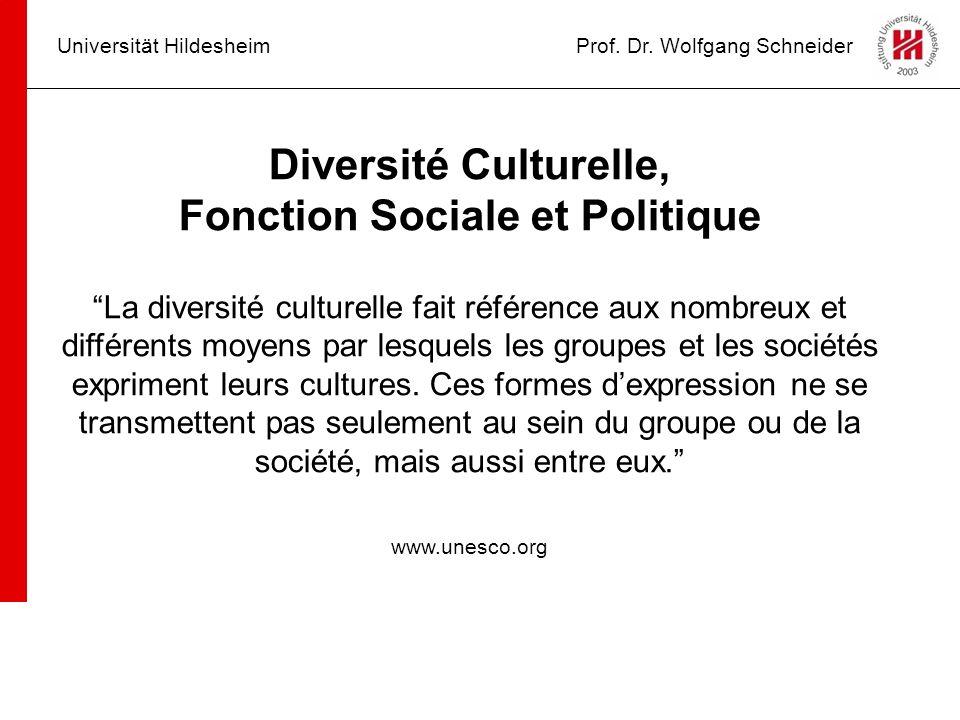 Universität HildesheimProf. Dr. Wolfgang Schneider Diversité Culturelle, Fonction Sociale et Politique La diversité culturelle fait référence aux nomb