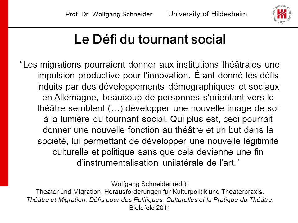 Prof. Dr. Wolfgang Schneider University of Hildesheim Le Défi du tournant social Les migrations pourraient donner aux institutions théâtrales une impu