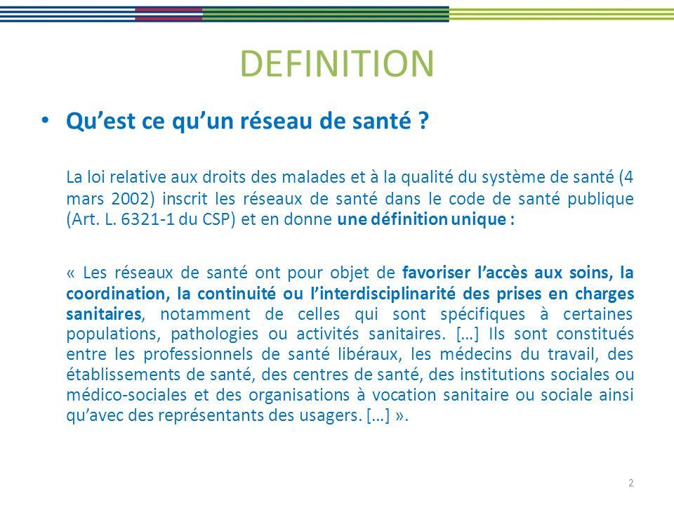 DEFINITION Quest ce quun réseau de santé ? La loi relative aux droits des malades et à la qualité du système de santé (4 mars 2002) inscrit les réseau