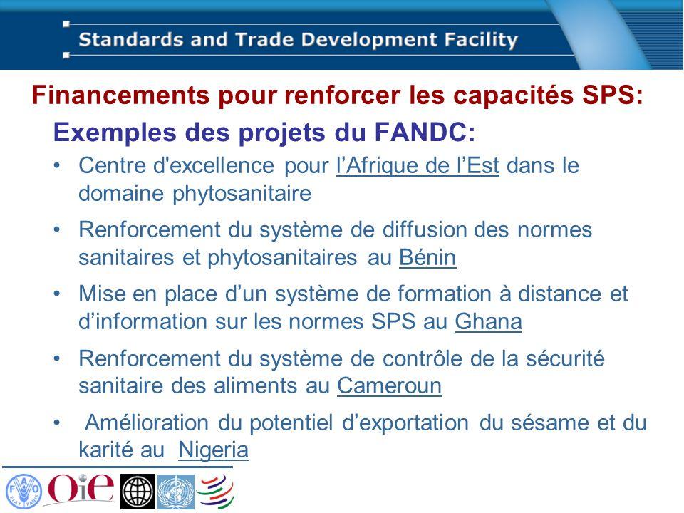 Exemples des projets du FANDC: Centre d'excellence pour lAfrique de lEst dans le domaine phytosanitaire Renforcement du système de diffusion des norme