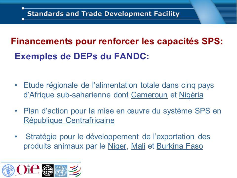 Exemples de DEPs du FANDC: Etude régionale de lalimentation totale dans cinq pays dAfrique sub-saharienne dont Cameroun et Nigéria Plan daction pour l