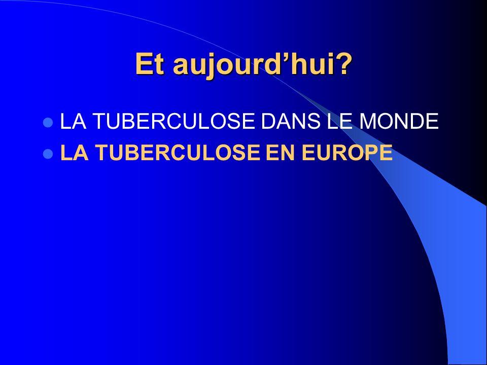 Et aujourdhui? LA TUBERCULOSE DANS LE MONDE LA TUBERCULOSE EN EUROPE