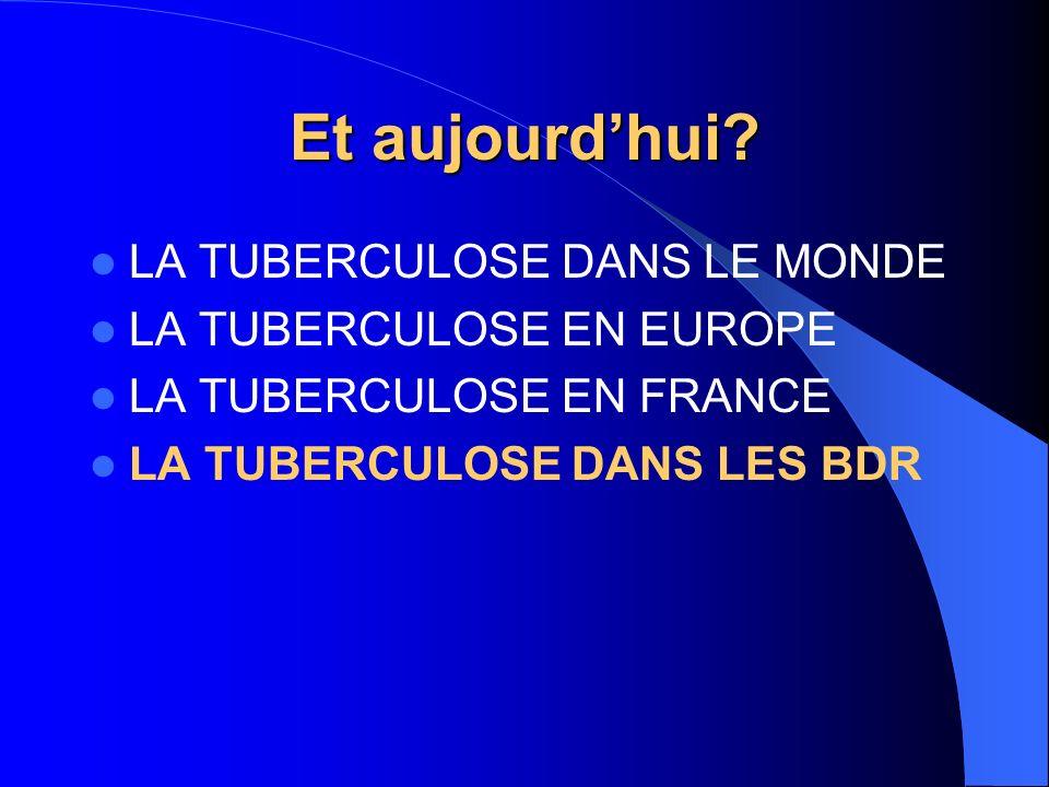 Et aujourdhui? LA TUBERCULOSE DANS LE MONDE LA TUBERCULOSE EN EUROPE LA TUBERCULOSE EN FRANCE LA TUBERCULOSE DANS LES BDR