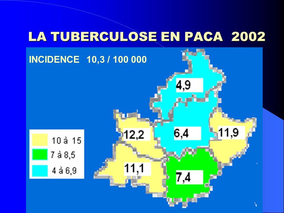 LA TUBERCULOSE EN PACA 2002 INCIDENCE 10,3 / 100 000