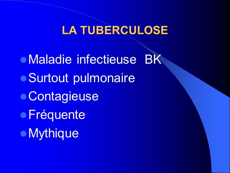 LA TUBERCULOSE Maladie infectieuse BK Surtout pulmonaire Contagieuse Fréquente Mythique